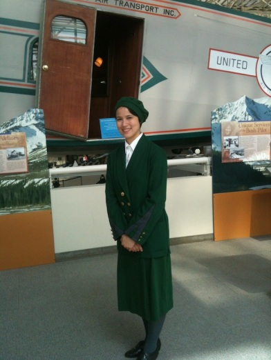 In character at Museum of Flight in front of the Boeing Model 80A.