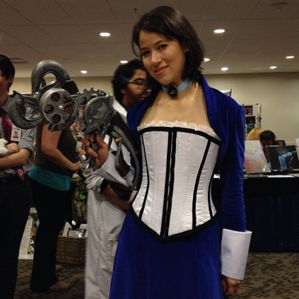 Elizabeth gets to rock the sky hook at Geek Girl Con 2013.