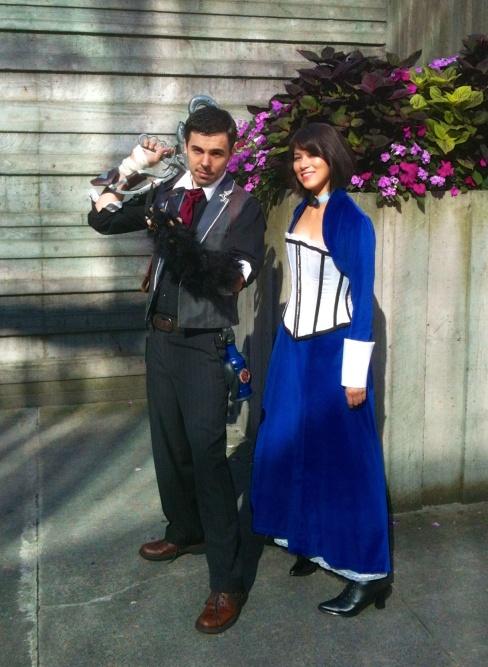 Meris and Greg in Bioshock costumes