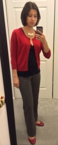 Red, black, and gray work outfit.