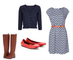 Dress with defined waist, fitted cardigan (layer), flats or boots