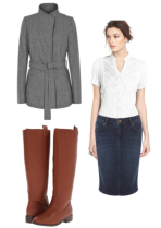 Straight skirt, fitted top, belted jacket (or a cropped jacket)
