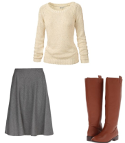 A-line or flared skirt, fitted sweater or blouse, boots