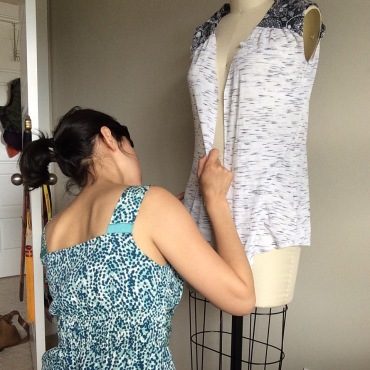 Dress with shoulder strap extensions
