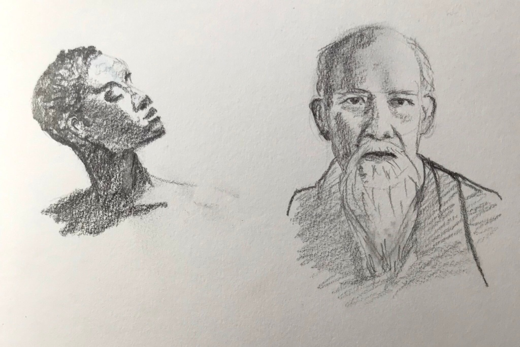 Pencil sketches of two faces. One is a black woman looking up to the right. One is an elderly Asian man looking directly at you.